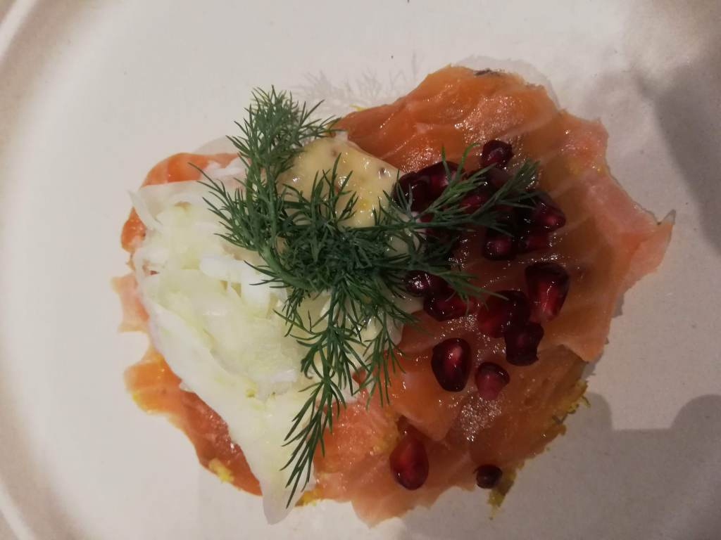 danish open sandwich with pickled salmon